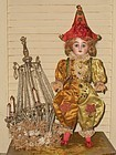 Lovely French Bisque Harlequin Bebe in Original Costume