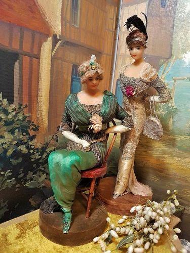 ~~~ Rare French Wax Fashionable Lady by Lafitte - Desirat / 1911~~~
