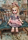 """Rare 9,5 """" Size 1 Mademoiselle Jumeau in Pretty Antique Clothing"""