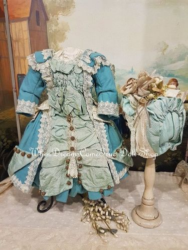 ~~~ Marvelous French Silk & Woolen Bebe Costume with Bonnet ~~~