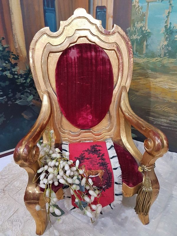 Fine Early French Gold - Leaf Arm Chair for French Poupee or Bebe