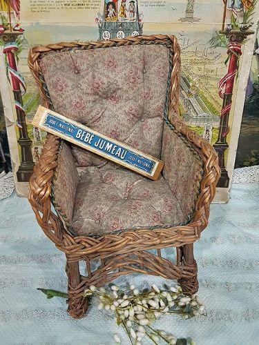 Pretty all Original Bamboo Chair with Original Fabric Cover / 1880