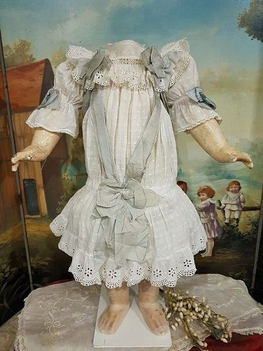 Pretty antique 19th. century Bebe Muslin Dress for Jumeau , Steiner...