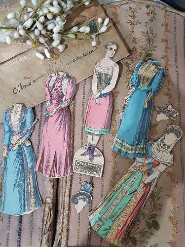 "Rare Dressing Paper Doll ""The Empress "" with Pretty Clothing /1870/80"