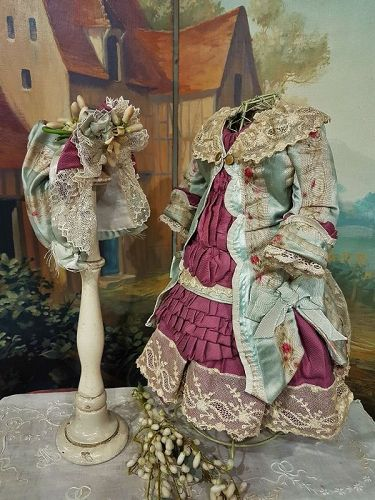 ~~~ Marvelous French Bebe Silk Costume with matching Bonnet ~~~