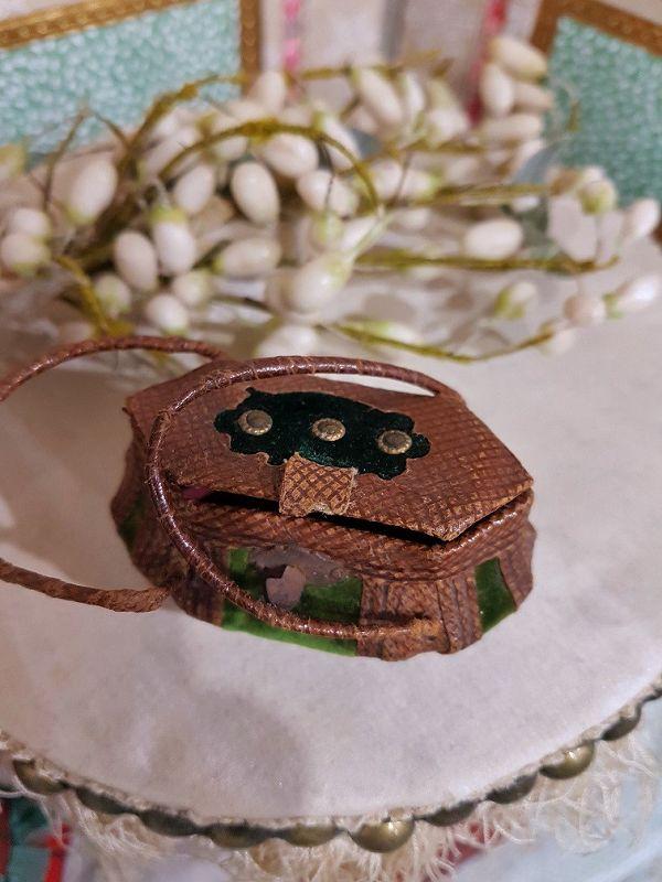 Rare 1860th. Bomb-Shaped Poupee Leather Necessaire Bag for Huret