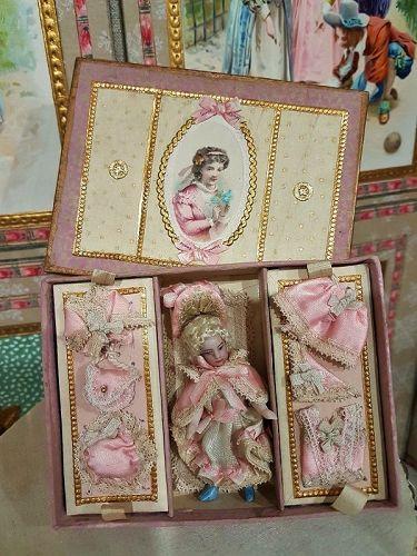 "Original Tiny"" Lilliputains"" Bisque Mignonette with her Trousseau"