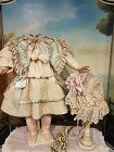 Pretty antique French Woolen Costume with Bonnet