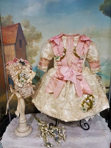 Superb French Silk & Lace Costume with Lovely Bonnet