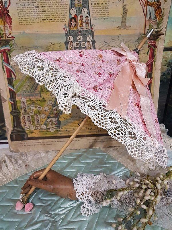 ~~~ Beautiful Maison Jumeau Bebe Parasol with Dog Handle ~~~