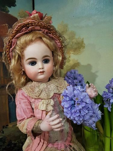 Rare French Bisque Bebe by Henri Delcroix with Bisque Hands