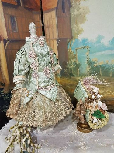 Marvelous French Bebe Silk Costume with Matching Bonnet