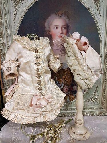 ~~~ Marvelous French Bebe Silk Costume with lovely Bonnet ~~~