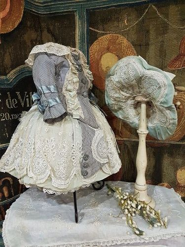 ~~~ Superb Two Piece French Bebe Costume with matching Silk Bonnet ~~~