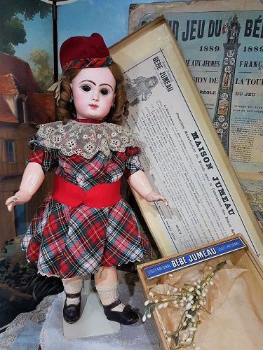 Rare all original Bisque Bebe by Jumeau with Lever Eyes in Store Box