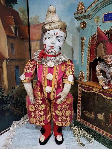 Unusual French Paper Mache Clown in original Costume
