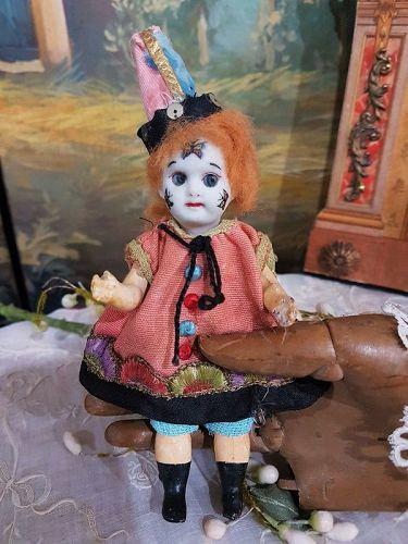 Rare all original Bisque Googly Clown Mignonette in original Clothing