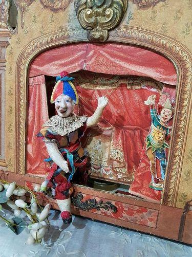 Rare all original Bisque Head Clown Mignonette in original Clothing