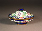 Chinese Canton enamel on copper dish