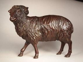 Japanese cast bronze ram sculpture