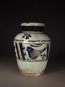 Persian cobalt blue / iron brown glazed jar