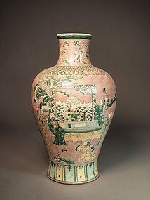 Chinese biscuit enameled porcelain vase