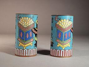 Chinese cloisonne brush pots (pair)