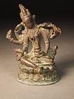 Small Indian cast bronze Durga figure