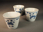 Chinese blue / white porcelain cups (3)