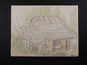 Original drawing, watercolor, artist unknown