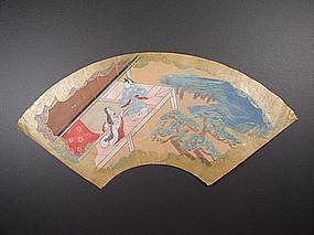 Original Nara-e fan painting, artist unknown