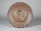 Japanese bronze and copper dish imitating basketwork