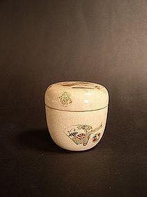 Japanese enamel earthenware natsume tea caddy
