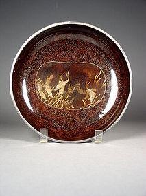 Japanese circular lacquer box