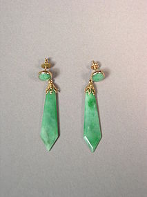 Pair of Chinese apple-green jadeite (jade) earrings
