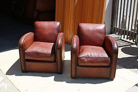French Club Chairs - Restored Trocodero Nailed Pair