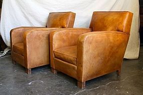 Liseaux Lounge French Square Back Leather Club Chairs