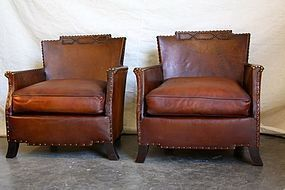French Leather Club Chairs - Giverny Corbeille Pair