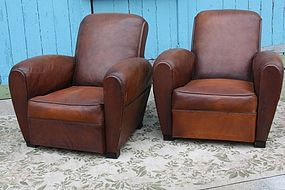 Vintage French Club Chairs Paris Dark Rollback Pair