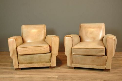 Liseaux Sand Library Pair Vintage French club chairs