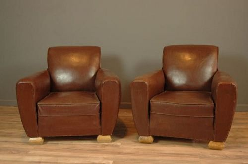 Calais Dark Slopeback Pair Vintage French club chairs