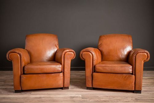 La Ministre Rollback Lounge Pair of Leather French Club Chairs