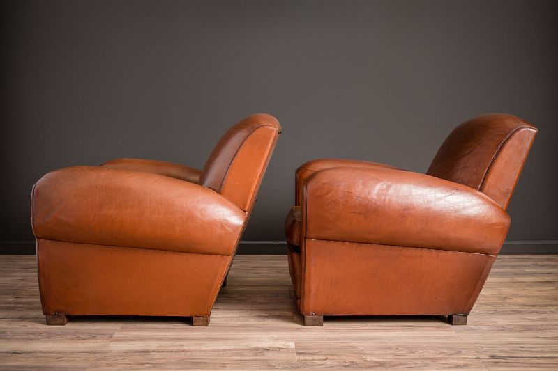 Vincennes Slopeback Pair of Leather French Club Chairs