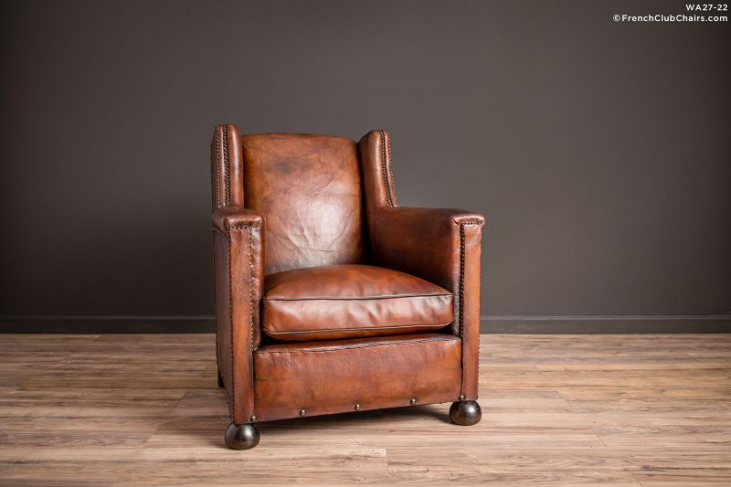Monthlery Wingback Solo Leather French Club Chairs
