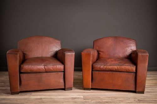 Cinema Dark Lounge Pair of Leather French Club Chairs |
