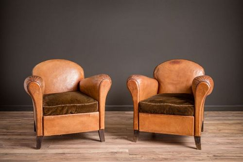 Petite Cinema Etretat Pair of Leather French Club Chairs
