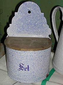 French Enamelware Salt Box Blue Splatter