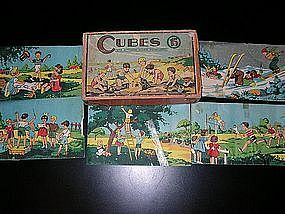 Vintage French Wooden Puzzle Blocks Four Seasons