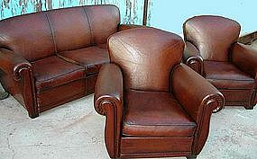 Vintage French Club Chair Couch Set  - Pascal Salon
