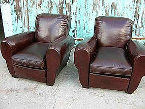 Vintage French Leather Club Chairs Mahogany Pleated